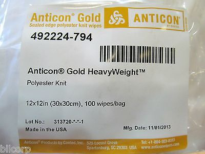 Contec Anticon Gold HeavyWeight Wipes Cleanroom 492224-794, 12x12, Case of 400