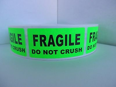 Fragile Do Not Crush 1x2 Green Fluorescent Stickers Labels 250rl