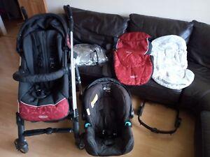 Travel System Buggy 3in1 Pushchair Pram Stroller Newborn Baby Car Seat Reclining
