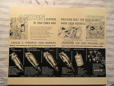 Vintage Barbershop Andis Clippers All Models Factory Drawings Sign Ad