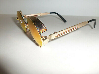 Vintage Retro Vampire Goth Steampunk Side Shields Round GOLD Sun Glasses Colored
