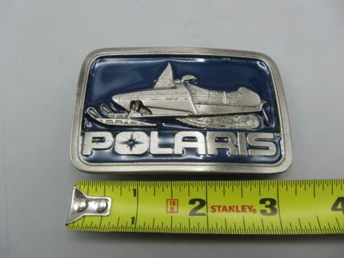 Vintage Polaris Snowmobile Blue Winter Pewter Belt Buckle - Made in USA