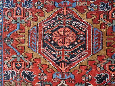 Wonderful Antique rug Persian Heriz Karajeh Serapi carpet 3'6''x4'7''