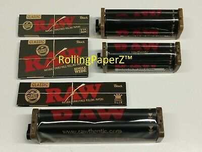 - RAW BLACK Rolling Papers Single Wide+1 1/4+King Size+70+79+110mm 2-Way Rollers