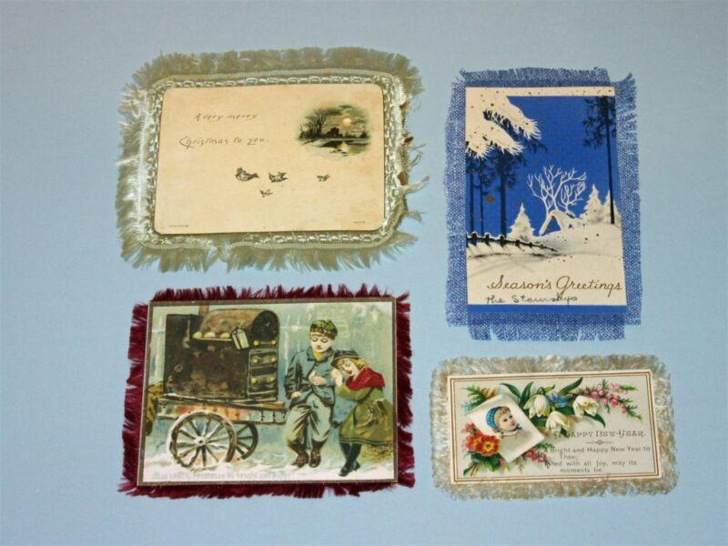 4 Lot Vintage Victorian Fringe Christmas Card 2-sided coal warming children