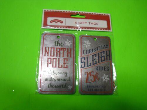 New ! 4 Counts Holiday Christmas Gift Tags The North Pole & Christmas Sleigh