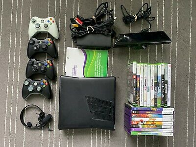 Microsoft Xbox 360 S Kinect Bundle - Kinect, 4 Controllers, 19 Games