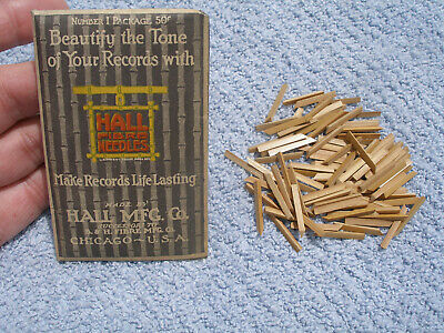 Antique 100 Bamboo Fibre Phonograph Victrola Gramophone Needles Hall Mfg Chicago
