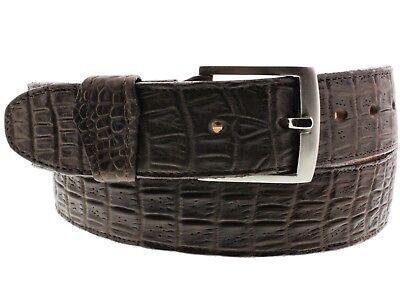 Mens Brown Crocodile Belly Print Leather Cowboy Belt Silver Buckle Cinto Rancho Silver Crocodile Belt