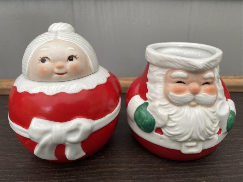 Santa & Mrs Claus Cream and Sugar Set Vtg Avon 80s Ceramic Red Retro Christmas