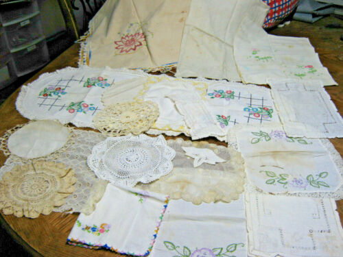 Lot Of 18 Vintage Linens for Crafts Doilies Crocheted Edges Runner Cutters