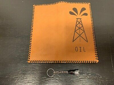 Oil Field Leather Pipe Tally Book Cover 8.75 X 4 And Drill Bit Keychain  H