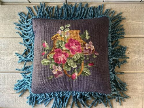 Vintage Needlepoint Pillow Floral w/Toile Backing Down Insert