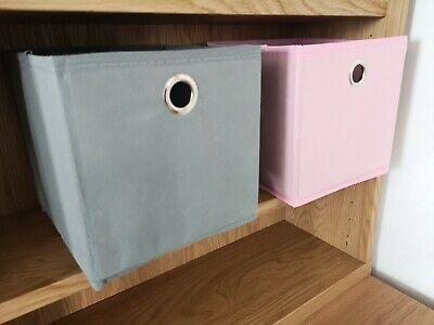 Square Canvas FOLDABLE FABRIC Storage Box Cube Shelf Organiser Drawer Grey SMALL