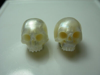 2 rare CARVED SKULL Freshwater Pearls Natural Drilled carving genuine White