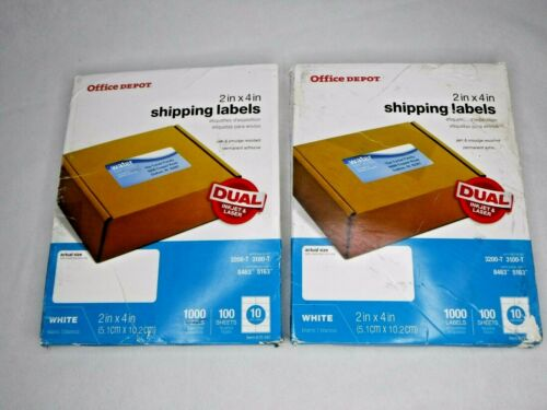 """2 Boxes Office Depot Inkjet/Laser Shipping Labels 2"""" x 4"""" White 1000 each NEW"""