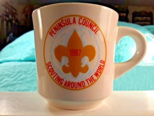 "Vintage 1987 Boy Scout Mug Peninsula Council Scouting Around The World 3.25"""