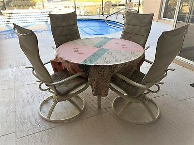 Outdoor Dining Set, Swivel Rockers, 48 inch Round Table, Lanai or Deck ()