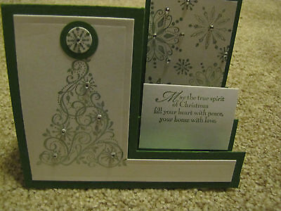 Snow Swirled Step Christmas Tree Handmade Card Kit w/some Stampin up 4