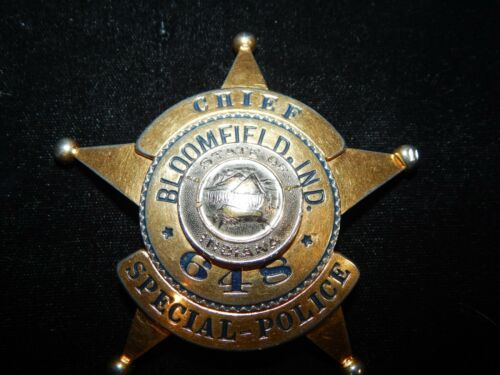 ANTIQUE BLOOMFIELD INDIANA IN CHIEF OF SPECIAL POLICE IND HMK MEYER & WENTHE