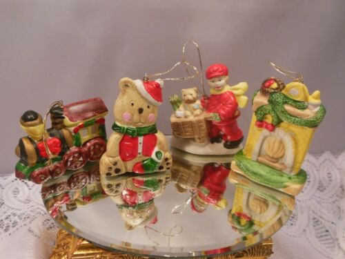 """LOT OF 4-VTG. CUTE CERAMIC CHRISTMAS ORNAMENTS ALL MEASURE ABOUT 3"""" TALL"""
