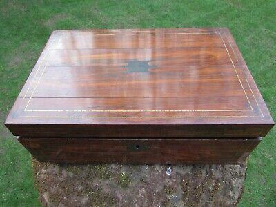 Early Victorian Rosewood Writing Slope Original Leather Needing Restoration