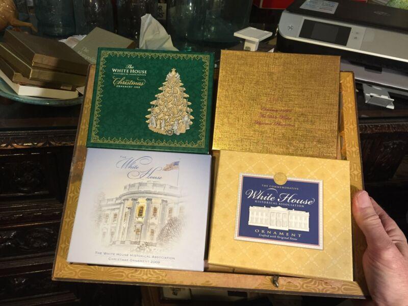 4 White house Historical Association Christmas Ornaments  1999 2005 2008 2009