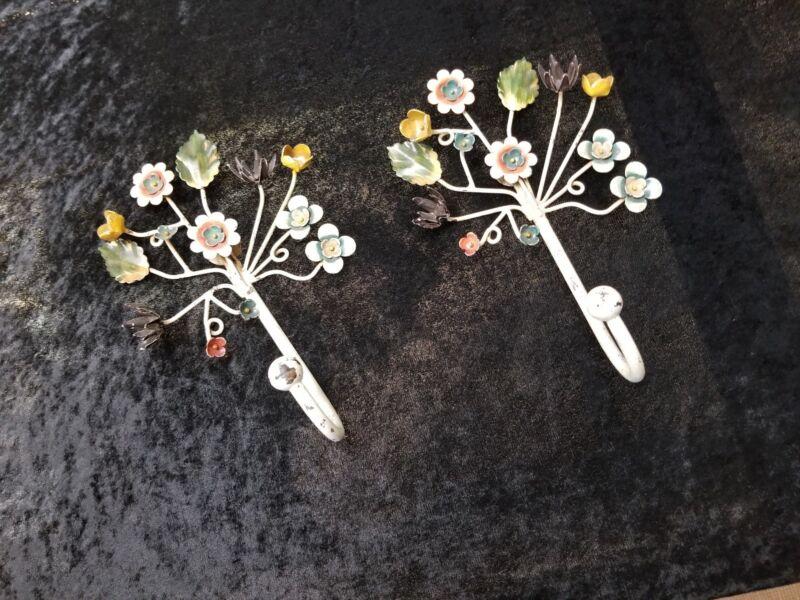 Toleware Flower Hooks Mid Century Shabby Set Of 2