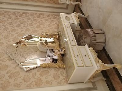 Mesa Clásicos Consola Espejo Cómoda Tocador Dormitorio Taburete Set De