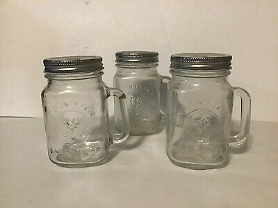 "3 County Fair Drinking Mugs ""pint Jars With Straw Holding Lids"" No Straws"
