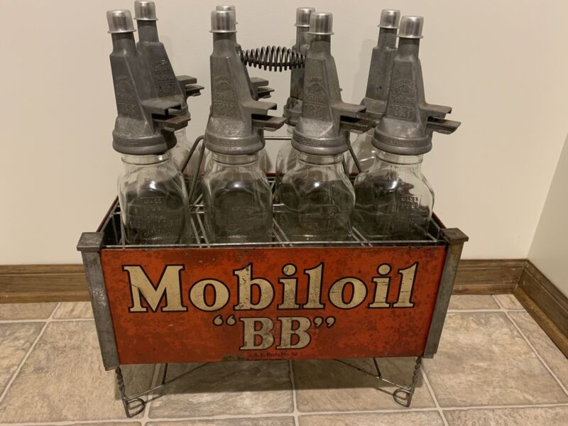 Mobiloil AF BB Filpruf Glass Diamond Bottle Rack Gas Station Mobil Oil Rare Set