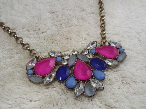 J.CREW Goldtone Hot Pink Blue Bead Scoop Necklace (C2)