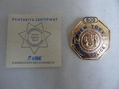 """Sammleranfertig Göde Polizei Sheriffstern / Abzeichen """"N.Y. State Police 800"""""""