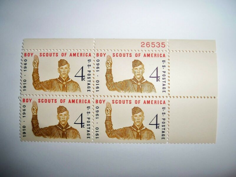 BSA, Plate Block of 1960 Boy Scout Stamps (Great Gift for Eagle Court of Honor)