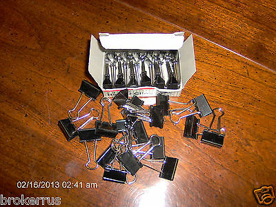 24 Small Binder Foldback Clips 34 Wide 38 Capacity Banker Clip Black Bc-02
