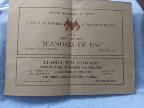 Wade Hampton Chapter United Daughters Of The Confederacy Scandals of 1934