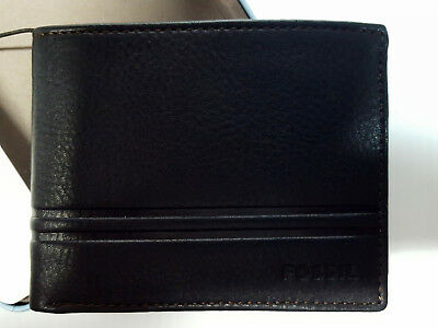 Men's Fossil Watts Bifold Leather Wallet with Flip ID Color Black