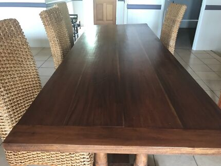 Solid Timber Dining Table And Six High Back Chairs MUST GO