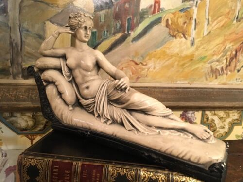 Antique 19th Century Chalkware Statue Classical Lady Reclining Figure