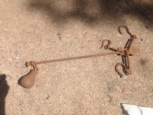 Old Antique 200lbs Warranted 3 Hook Balance Scale