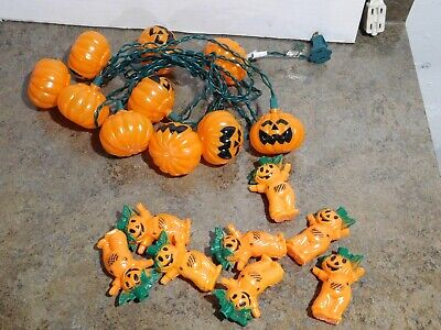 Lot Of 18 VTG Halloween Pumpkin Man Scarecrow Plastic Blow Mold Light String