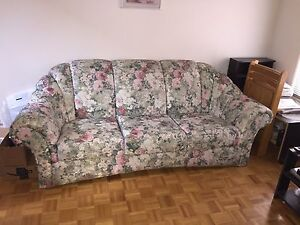Floral pattern green fabric three piece sofa set couch