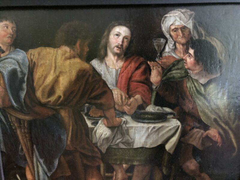 """""""Christ In Emmaus"""" 17th/18th C Old Master Oil Painting Studio/Circle P.P.Rubens."""