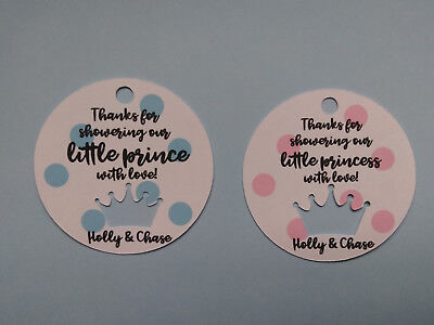 12 Personalized Baby Shower Crown favor tags. Princess, Prince. Boy or girl!  (Boy Or Girl Baby Shower)