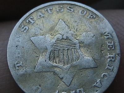 1853 Three 3 Cent Silver- VG/Fine Details
