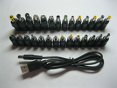 10 set DC Power 2.1mm Jack to 28 Plug Adapter Notebook Laptop with USB Cable