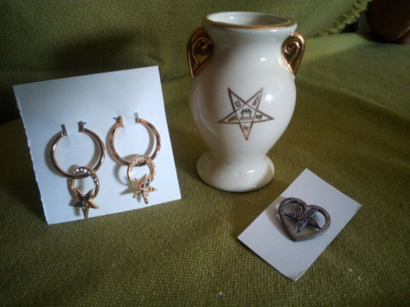 Order of the Eastern Star Earrings, Lapel Pin and Small Vase Group