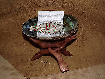 "SAGE SMUDGE KIT WITH WHITE SAGE STICK, ABALONE SHELL 6"" STAND PURIFICATION VIBS"