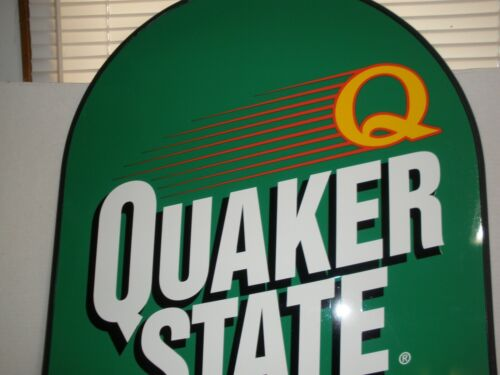 QUAKER STATE OIL SIGN LARGE DOUBLE SIDED METAL SIGN AND STAND.