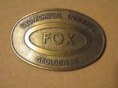 #B Vintage Belt Buckle Brass Fox Geologists Geotechnical Engineers